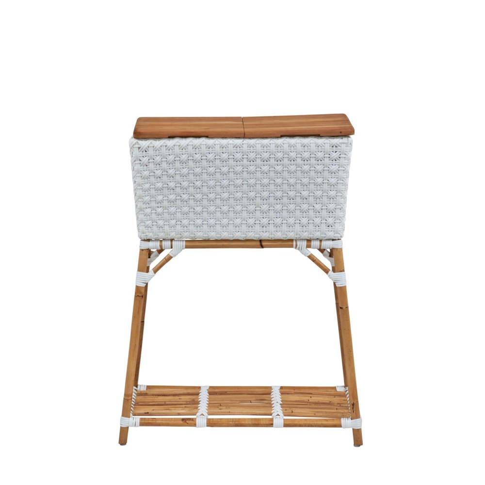 Madrid Party Bucket w/Teak Cutting Board  Top Removable Galvanized Steel Bucket   Color - White Sta