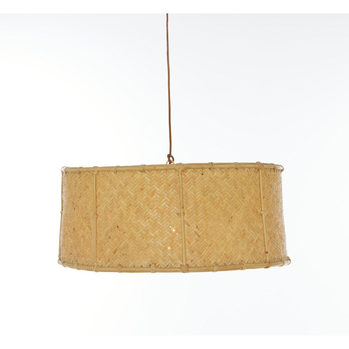 Drum Pendant Herringbone Pattern Weave Color - Natural (hardwired pendant kit included; 60W)CLO