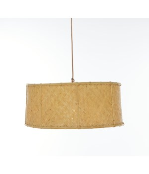 CLOSE-OUT - 50% OFF! Drum Pendant Herringbone Pattern Weave Color - Natural (hardwired pendant k