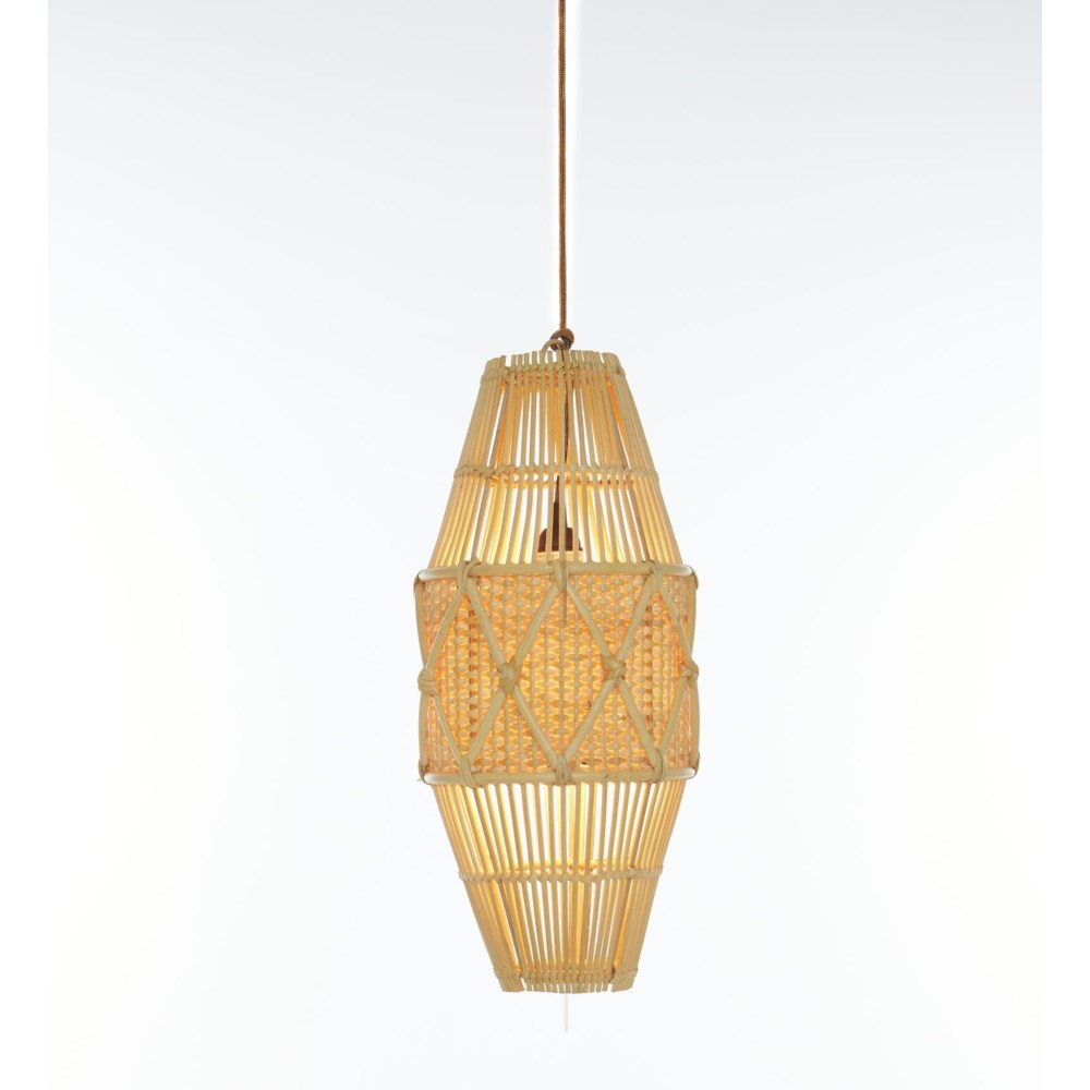 Round Pendant, Small Diamond Basket Weave Pattern Color -  Natural (hardwired pendant kit include