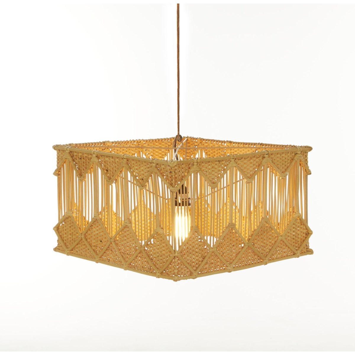 Square Pendant Diamond Basket Weave Pattern Color - Natural (hardwired pendant kit included; 60W)