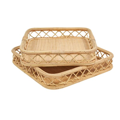 NEW!!  Charleston Tray Set (2-Pc Set ) Color - Natural