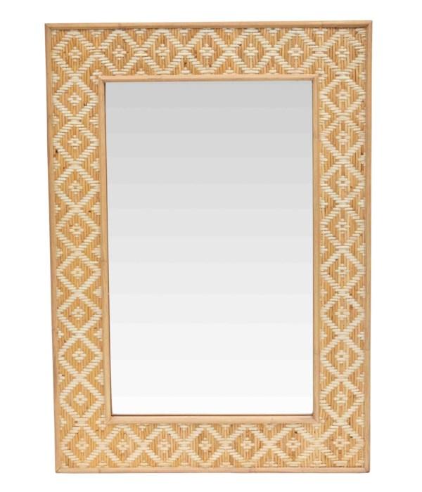NEW!!  Batik Mirror, RectangleRattan Frame Color - Tan / Natural