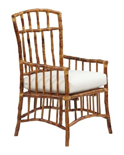 Bombay Arm Chair Frame Color - TortoiseChoose Your Cushion Color - Sail Cloth Sand or Canvas Canva