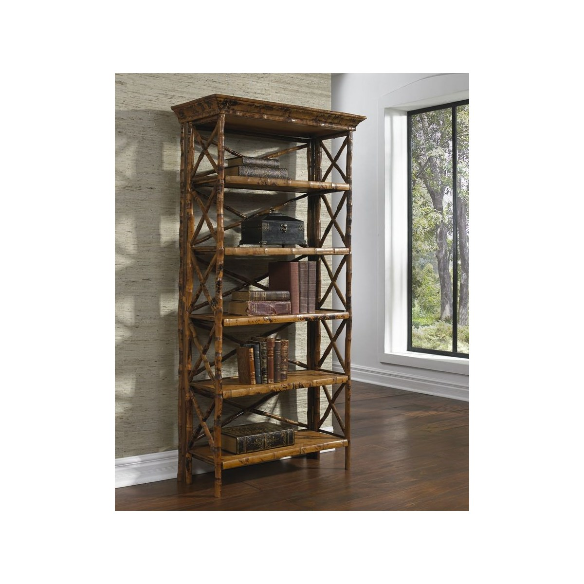 English Bookcase 5 Shelf,  Flip -n-Fold Frame Color - Tortoise  Some Assembly Required