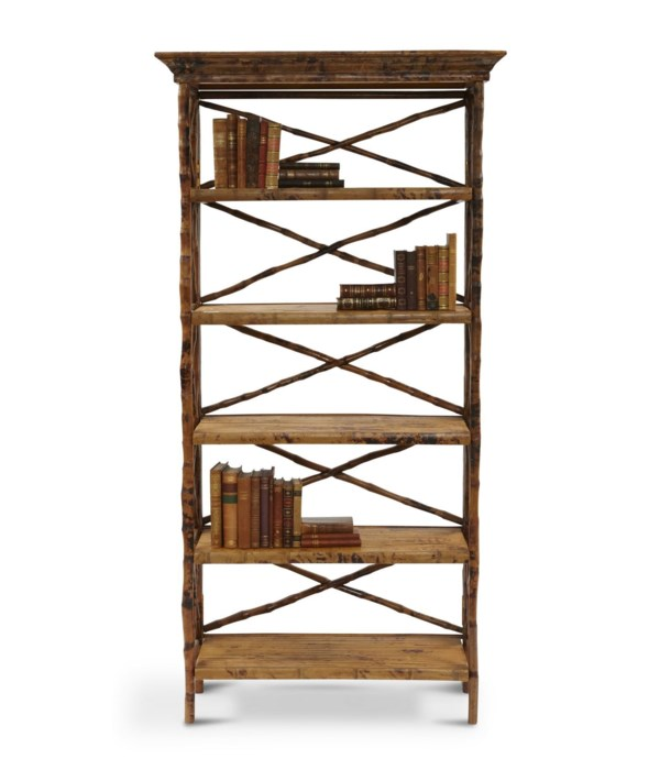 English Bookcase 5 Shelf Folding Narrow, flip-n-fold Frame Color -Tortoise Some Assembly Required