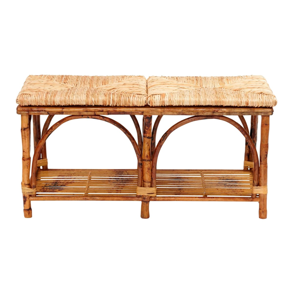 Bed Bench with Shelf Woven Rush Seat Frame Color - Tortoise