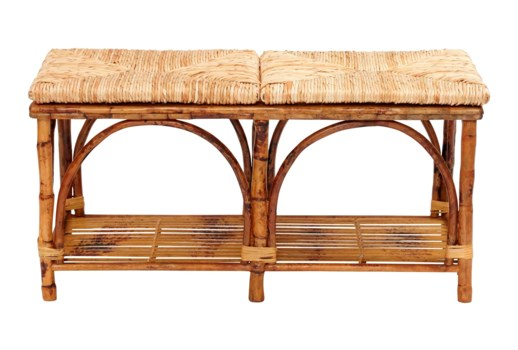 Bed Bench with ShelfWoven Rush SeatFrame Color - Tortoise