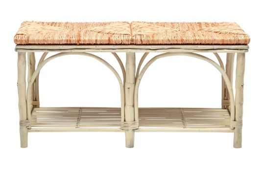 Bed Bench with ShelfWoven Rush Seat, Antique White Frame Pack 1