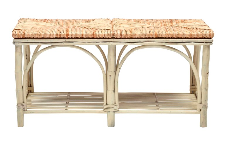 15% OFF -Bed Bench with ShelfWoven Rush Seat, Antique White Frame Pack 1Item to be Discontinued