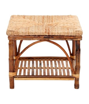 Ottoman with Shelf Woven Rush TopFrame Color - Tortoise
