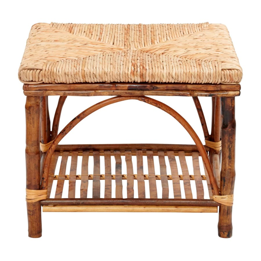 Ottoman with Shelf  Woven Rush Top Frame Color - Tortoise
