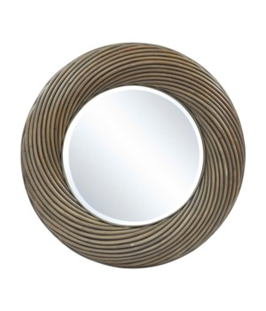 CLOSE-OUT - Buy1Get1 FREE! Twisted Round Mirror Color - Old Gray This Item Will Be Discontinued