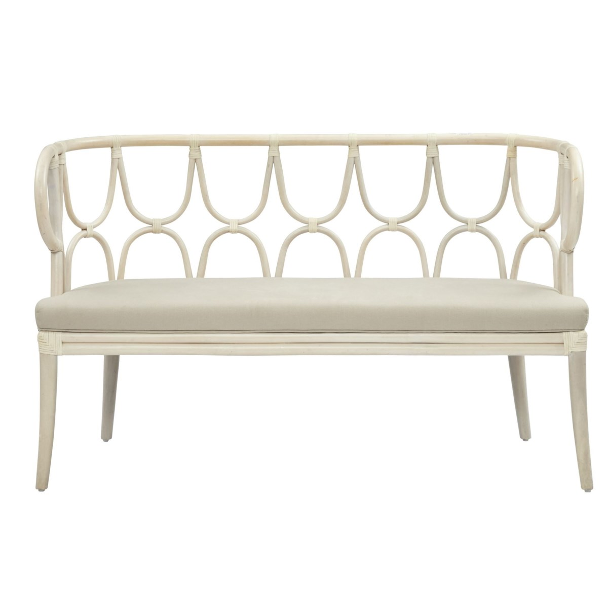 Simone Bench, Curved Back Frame Color - LinenCushion Color - Cream