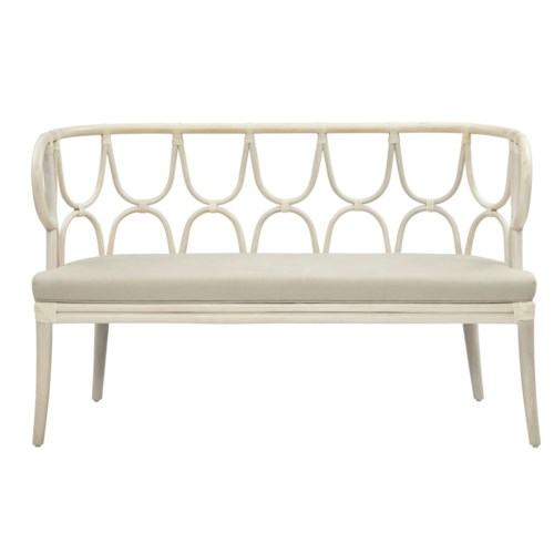 Simone Bench, Curved BackFrame Color - White WashCushion Color - Linen