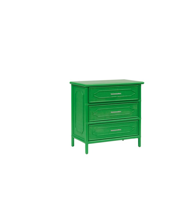 """30"""" 3-Drawer Chest  Unpainted - """"Select Your Color""""  Frame: Rattan & Wood"""