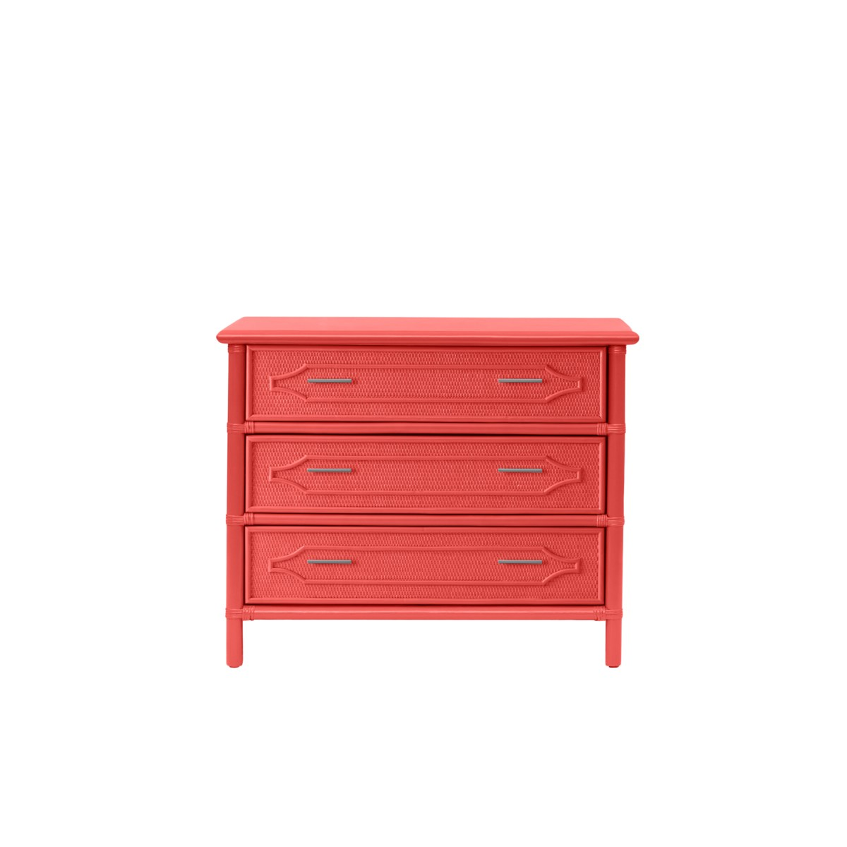"""36"""" 3-Drawer Chest Unpainted - """"Select Your Color""""  Frame: Rattan & Wood"""