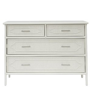 "4 Drawer Dresser Unpainted - ""Select Your Color""   Frame: Rattan & Wood"