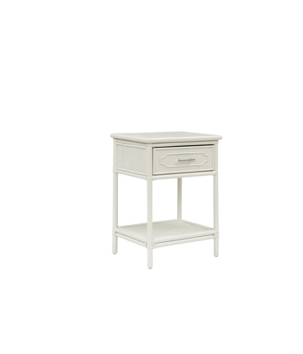 """Night Stand Unpainted - """"Select Your Color""""  Frame: Rattan & Wood"""