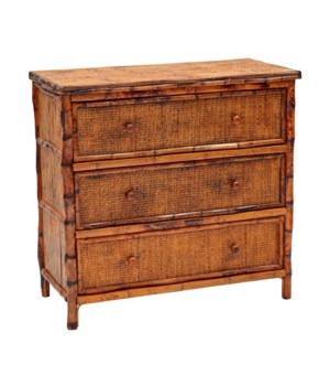 Bachelor Chest, Large Woven Drawer Fronts Frame Color -  Antique Tortoise