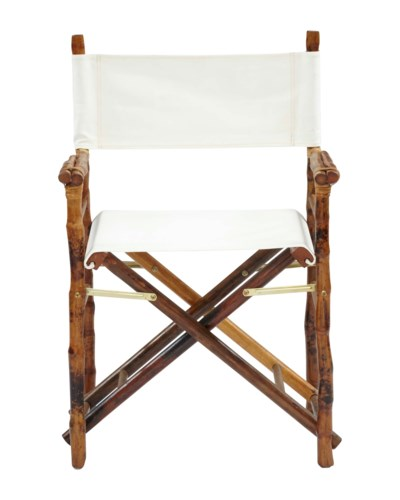 Folding Campaign Directors ChairFrame Color - Tortoise Matte  Seat and Back Color - WhiteSold in