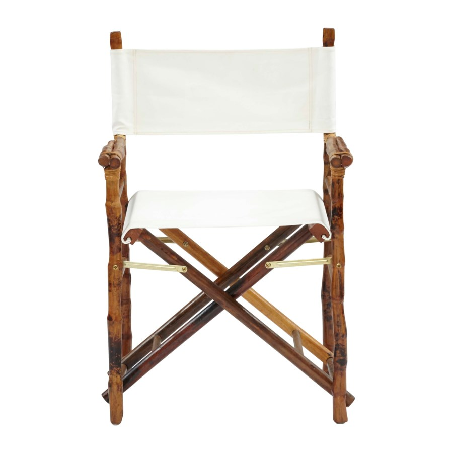 Folding Campaign Directors Chair Frame Color - Tortoise Matte   Seat and Back Color - White Sold
