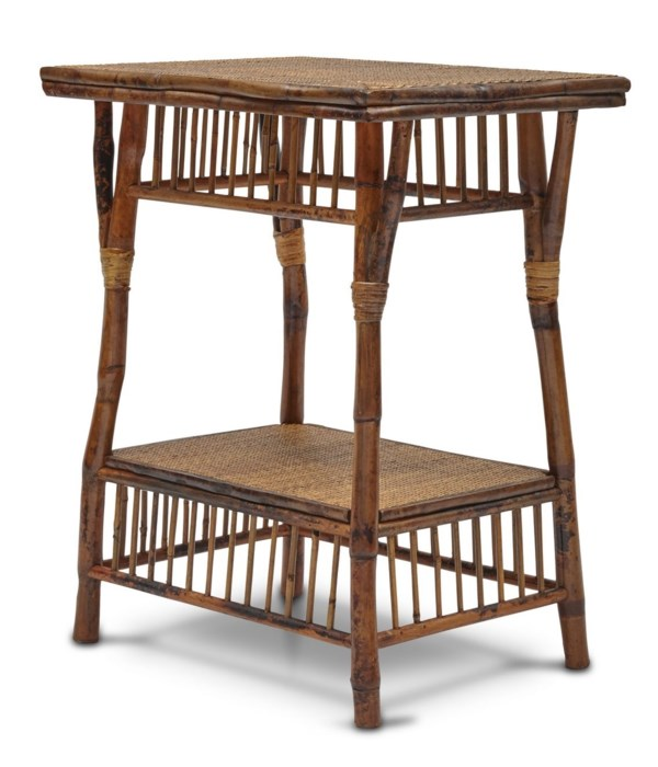 Bombay Side Table Woven Top and Shelf Frame Color - Antique Tortoise