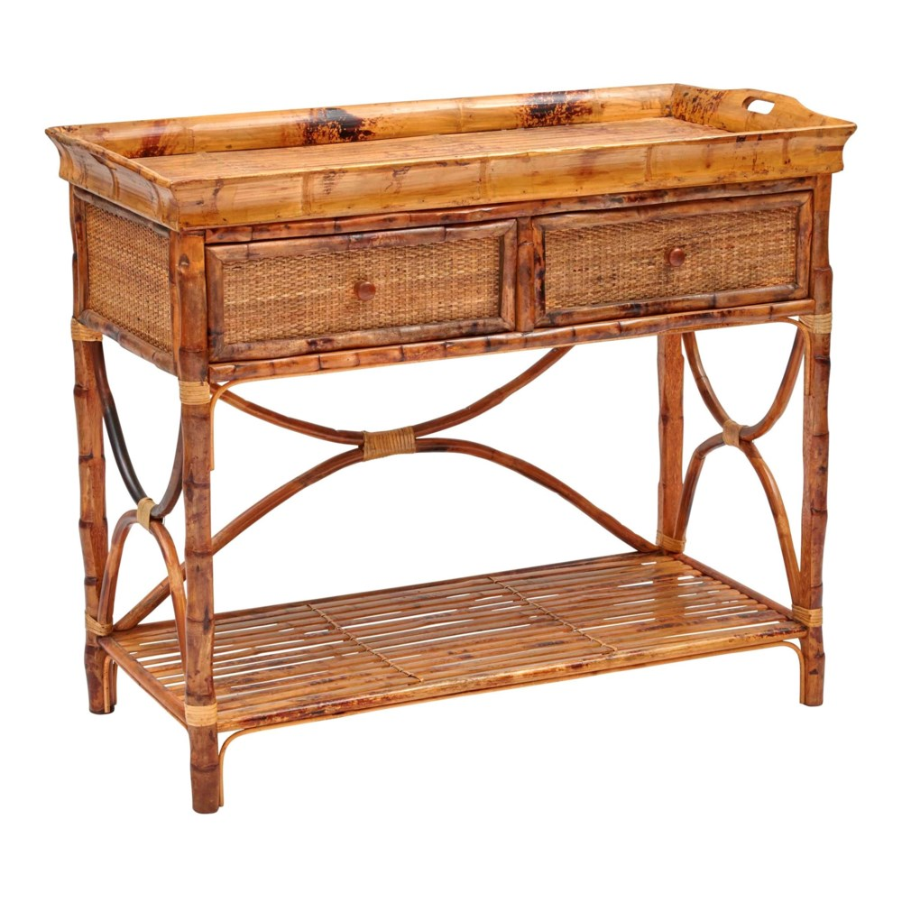 English Serving Console (with Removable Tray Top)Woven Front Frame Color - Antique Tortoise
