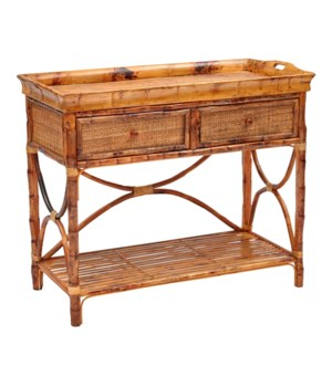 English Serving Console Woven Front Frame Color - Antique Tortoise   (Removable Top Tray)