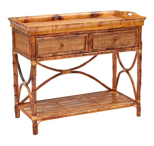 English Serving Console Woven FrontFrame Color - Antique Tortoise
