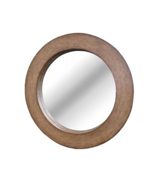 "SOLD-OUT - Buy1Get1 FREE!  Coconut Shell 36"" Round Mirror Color - Driftwood   This Item Has Been"