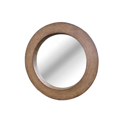 "CLOSE-OUT - Buy1Get1 FREE!  Coconut Shell 36"" Round Mirror Color - Driftwood   This Item Will B"