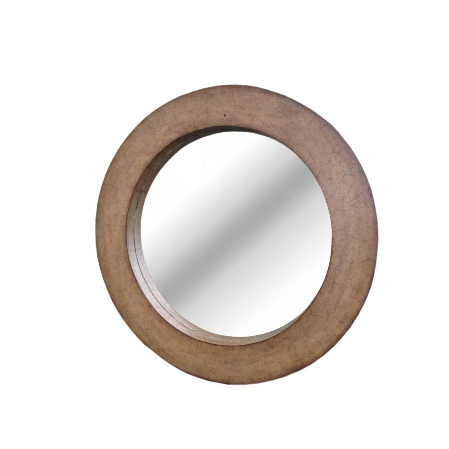 """Buy1Get1 FREE! -Coconut Shell 36"""" Round MirrorColor - Driftwood  Item to be discontinued"""