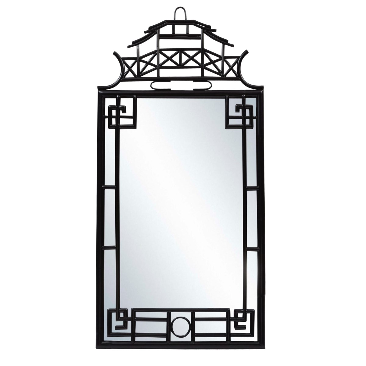 """Pagoda Mirror, Large  Unpainted - """"Select Your Color""""  Frame: Rattan"""