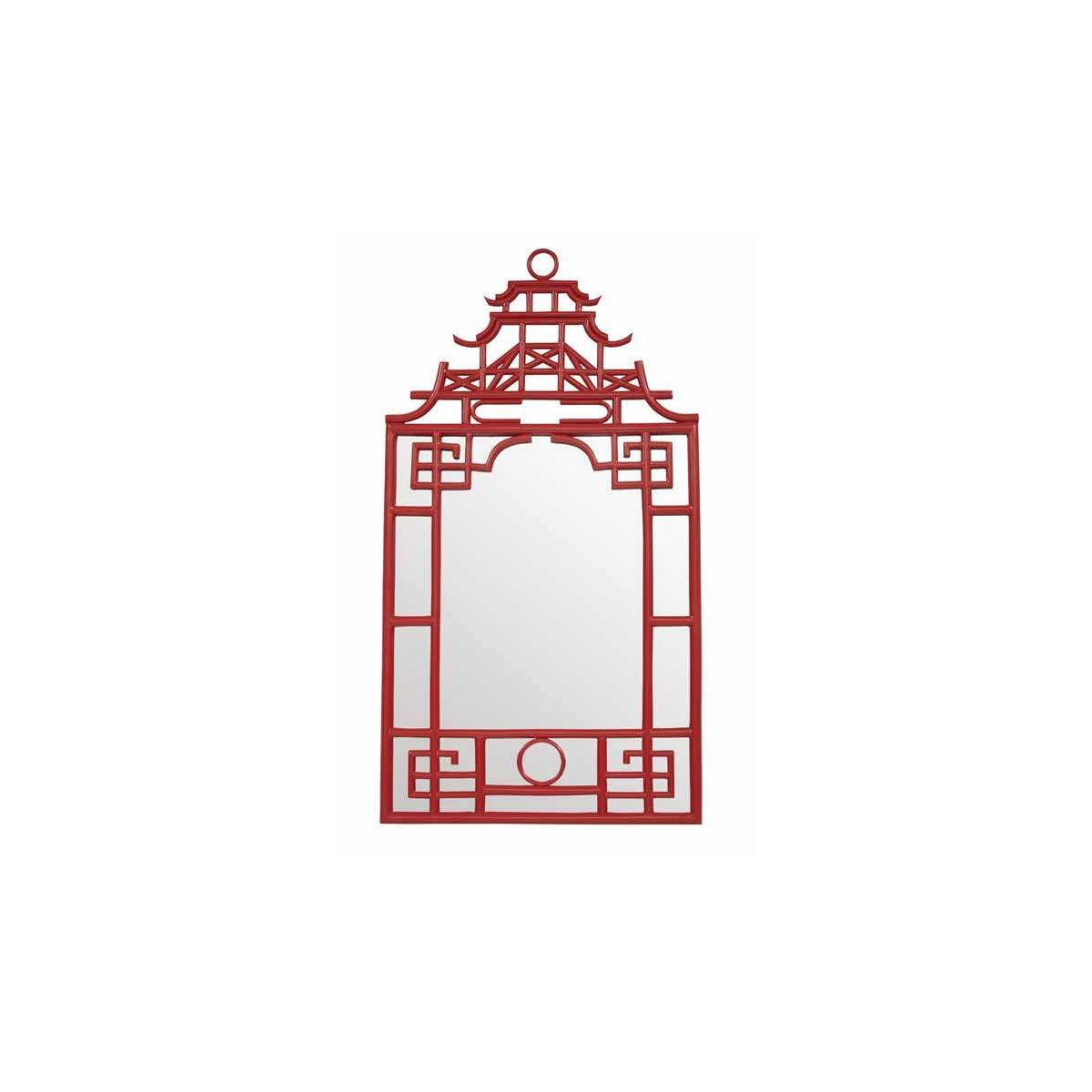 """Pagoda Mirror-Small Unpainted - """"Select Your Color"""" Frame: Rattan"""