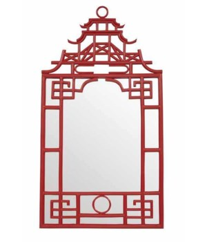 "Pagoda Mirror-Small Unpainted - ""Select Your Color"" Frame: Rattan"