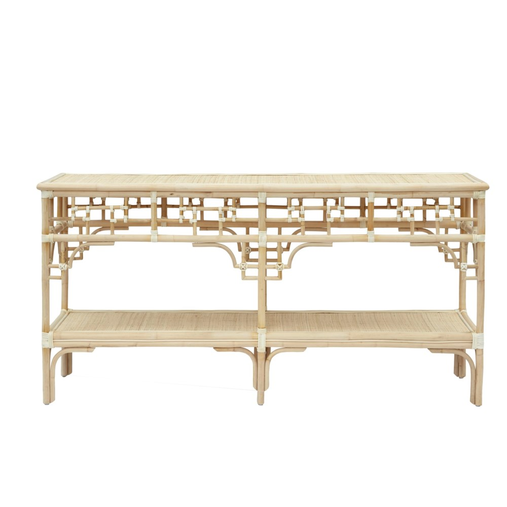 """Pagoda Console,  Large Unpainted - """"Select Your Color"""" Rattan Frame with Leather Wraps"""