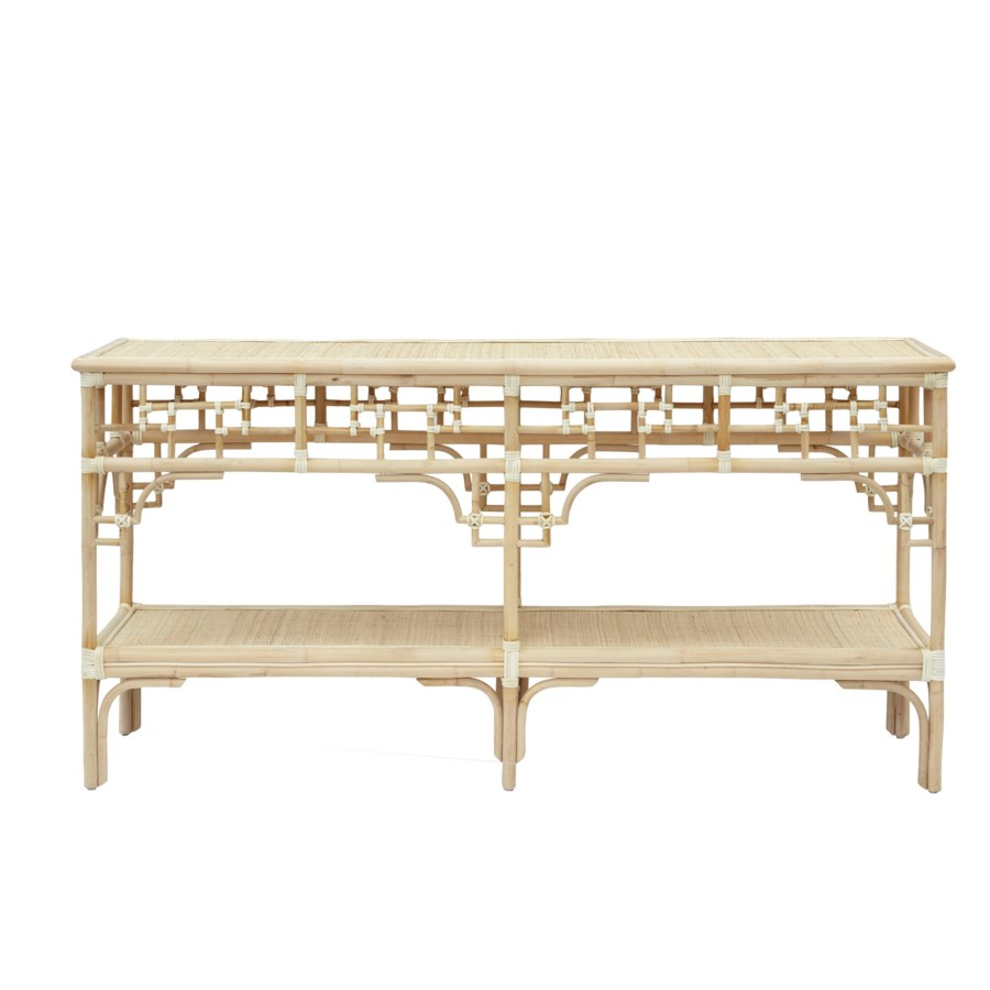 "Pagoda Console,  Large Unpainted - ""Select Your Color"" Rattan Frame with Leather Wraps"