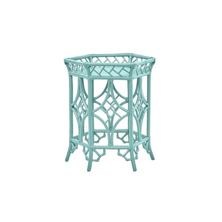 "50% OFF UNPAINTED FRAME ONLY!  Pagoda Accent Table  Unpainted - ""Select Your Color""  Rattan Frame"