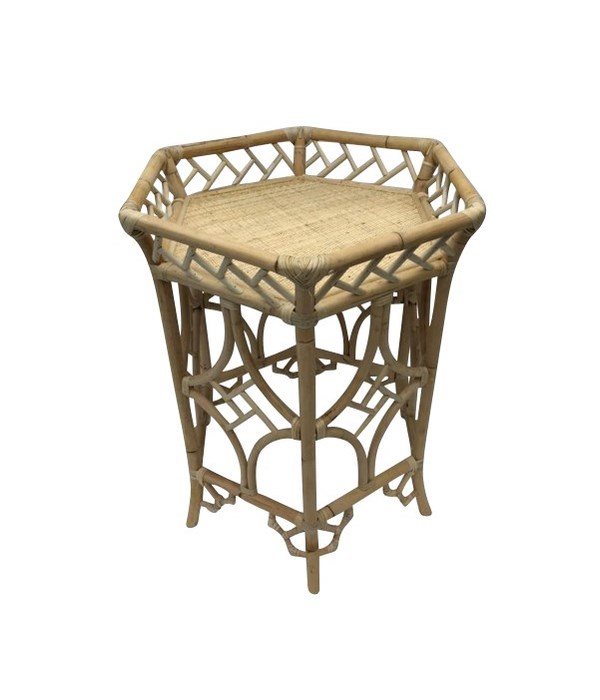 """50% OFF UNPAINTED FRAME ONLY!  Pagoda Accent Table  Unpainted - """"Select Your Color""""  Rattan Frame"""