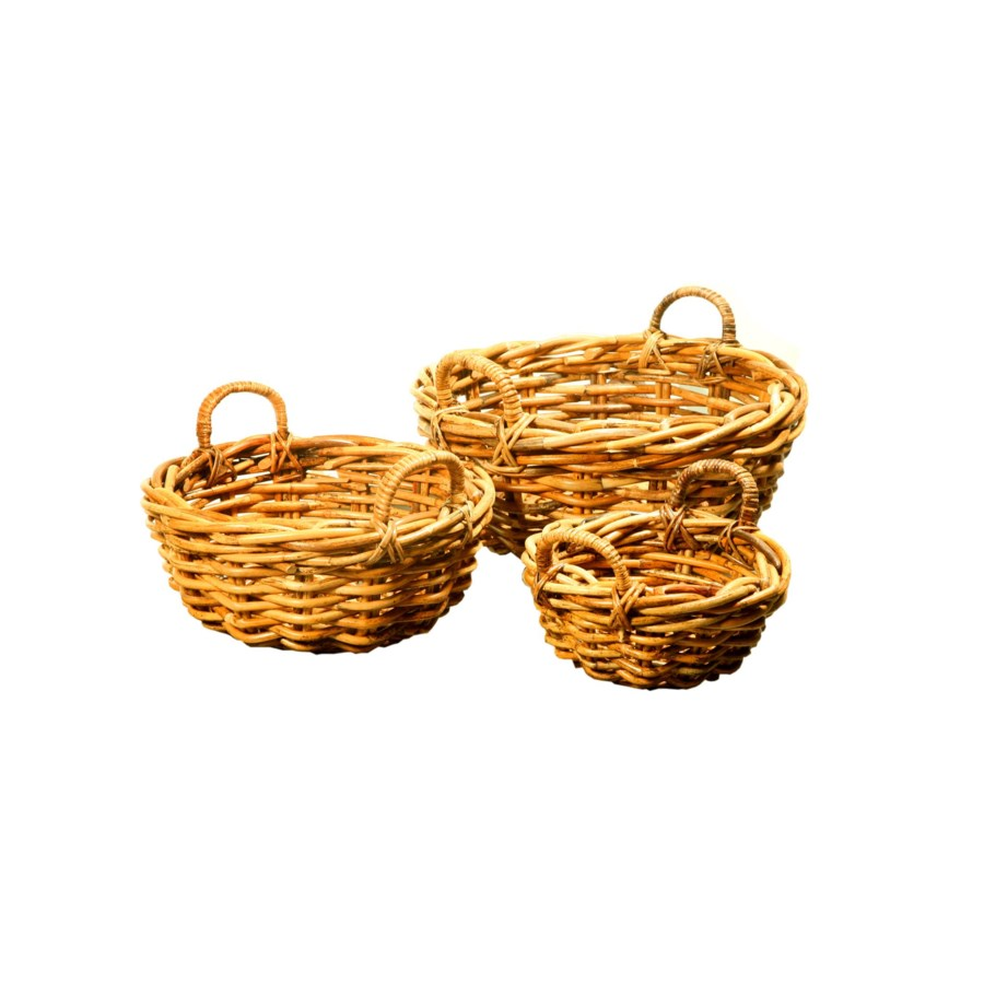 Buy1Get1 FREE! -Bali Round Basket SetColor - NaturalSet of 3 (Sold as a Set Only)Item to be dis
