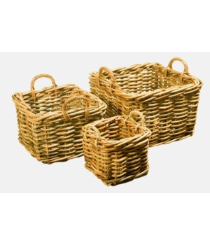 Buy1Get1 FREE! - Bali Square Baskets Color - Natural Set of 3 (Sold as a Set Only) Item to be d