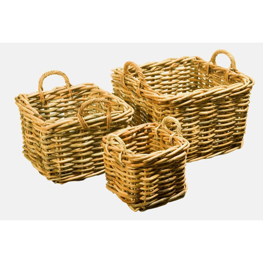 CLOSE-OUT - Buy1Get1 FREE! Bali Square Baskets Color - Natural Set of 3 (Sold as a Set Only) It