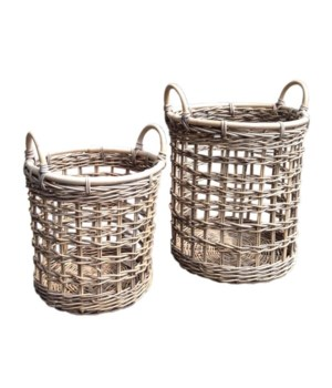 Buy1Get1 FREE! -Java Round Open Weave Baskets Color - Kubu GraySet of 3 (Sold as a Set Only)Ite
