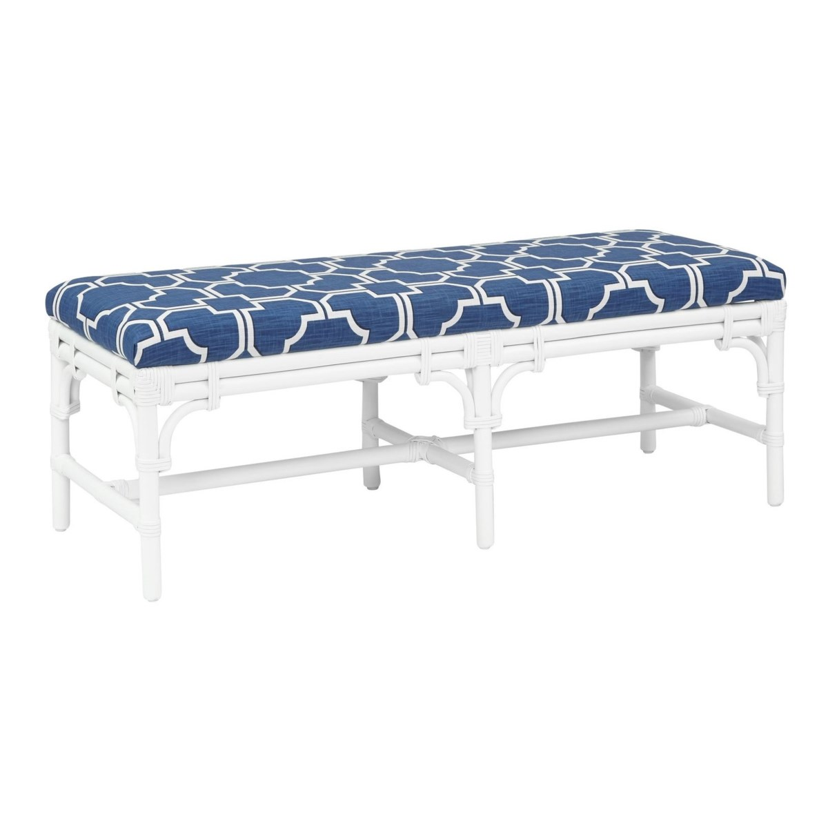 """Chippendale Bench Unpainted - """"Select Your Color"""" Rattan Frame with Leather Wraps"""