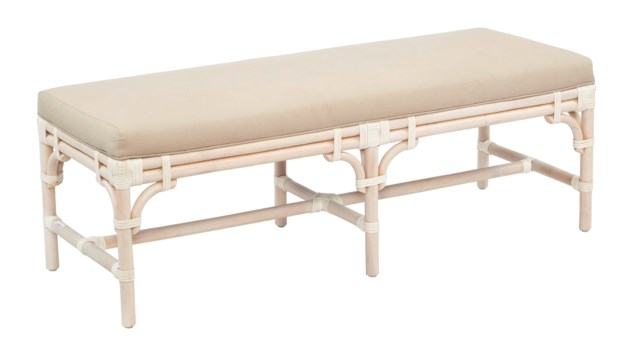 "Chippendale Bench , 54""Frame Color -  WhitewashCushion Color - Linen"