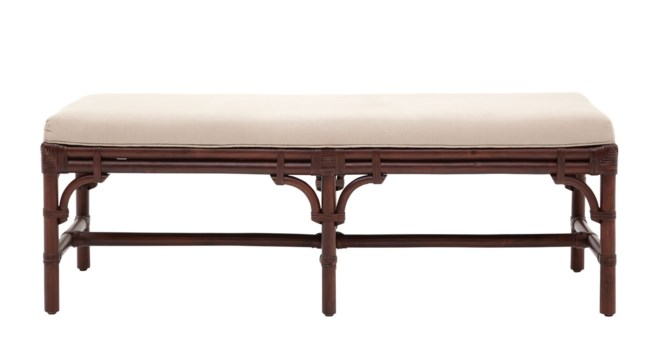 "Chippendale Bench , 54""Frame Color -  MahoganyCushion Color - Linen"