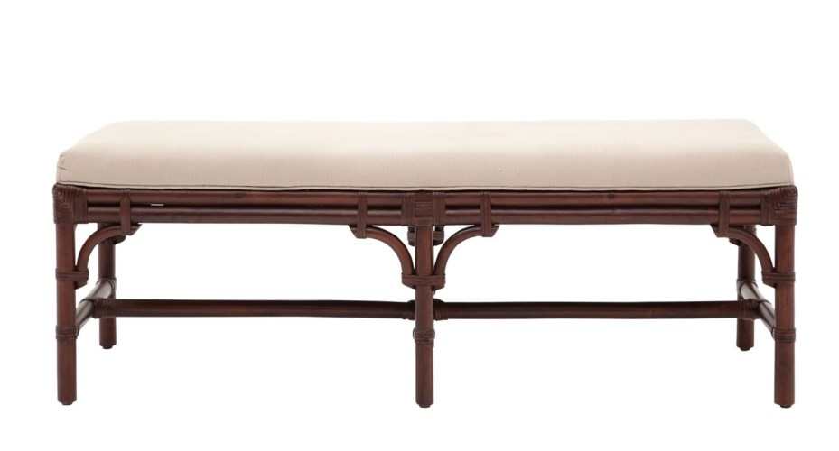 "25% OFF -Chippendale Bench , 54""Frame Color -  MahoganyCushion Color - LinenItem to be Disconti"