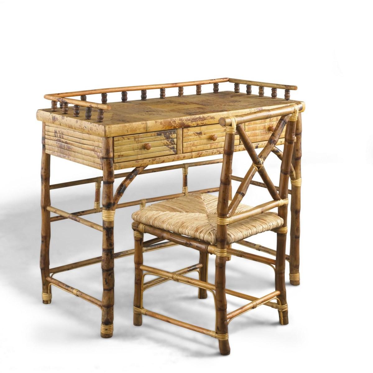 Petite Desk & Chair Set Rush Seat Frame Color - Tortoise