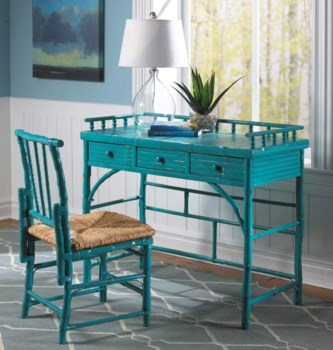 Petite Desk & Chair SetRush SeatFrame Color - Antique Turquoise